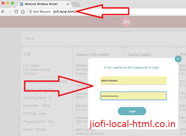 reset jiofi password